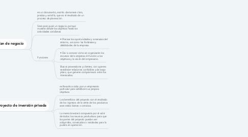 Mind Map: Plan de negocio y Proyecto de inversión privada