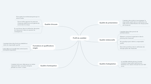 Mind Map: Profil du candidat
