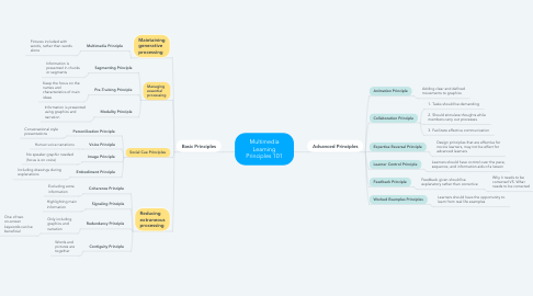 Mind Map: Multimedia Learning Principles 101