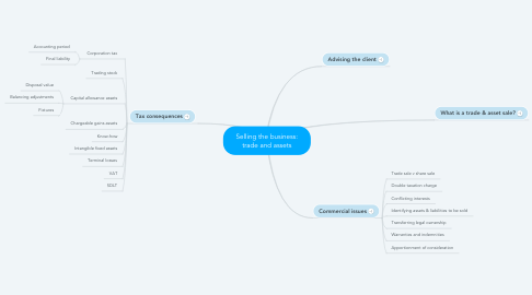 Mind Map: Selling the business: trade and assets