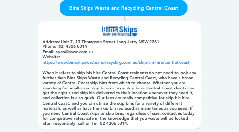 Mind Map: Bins Skips Waste and Recycling Central Coast