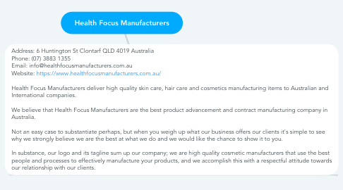 Mind Map: Health Focus Manufacturers