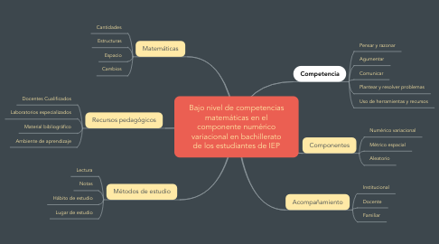 Mind Map: Bajo nivel de competencias matemáticas en el componente numérico variacional en bachillerato de los estudiantes de IEP
