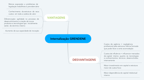 Mind Map: Internalização GRENDENE