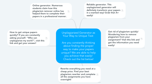 Mind Map: Unplagiarized Generator as Your Way to Unique Text    Are you constantly thinking about finding the proper way to make your papers unique? We are able to help you achieve that easily! Check out the list below!