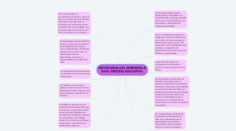 Mind Map: IMPORTANCIA DEL APRENDIZAJE EN EL PROCESO EDUCATIVO.