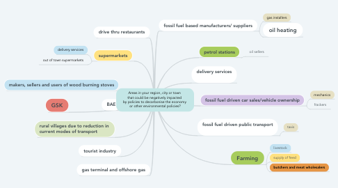Mind Map: Areas in your region, city or town  that could be negatively impacted  by policies to decarbonise the economy  or other environmental policies?