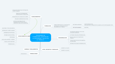 Mind Map: PROGRAMA DE FORMACIÓN. GESTIÓN DE LA SEGURIDAD Y SALUD EN EL TRABAJO.