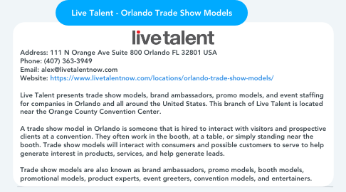 Mind Map: Live Talent - Orlando Trade Show Models
