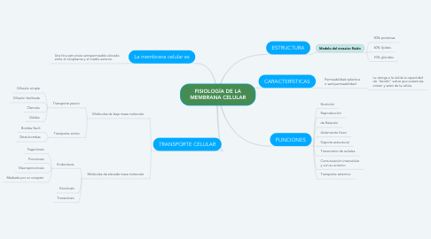 Mind Map: FISIOLOGÍA DE LA MEMBRANA CELULAR