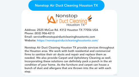 Mind Map: Nonstop Air Duct Cleaning Houston TX