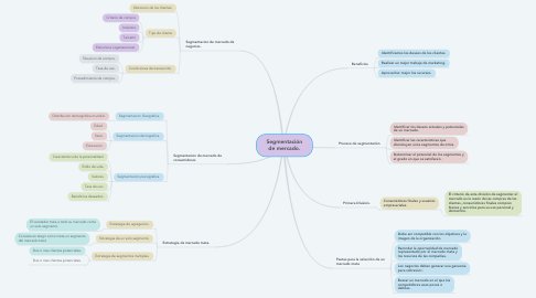 Mind Map: Segmentación de mercado.