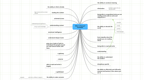 Mind Map: What is literacy? (example)