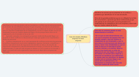 Mind Map: Caso de estudio: Mediana empresa Vs Gran  empresa