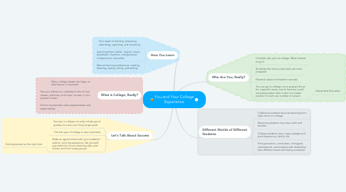 Mind Map: You and Your College Experience