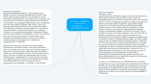 Mind Map: Potencias mundiales y las economías emergentes.           Itzel Alegria Fuentes