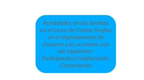 Mind Map: Actividades de las familias en el Liceo de Carlos Reyles en el departamento de Durazno.Las acciones son las siguientes: Participación,Colaboración, Compromiso