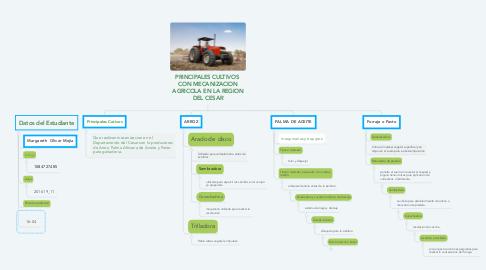 Mind Map: PRINCIPALES CULTIVOS  CON MECANIZACION AGRICOLA EN LA REGION DEL CESAR