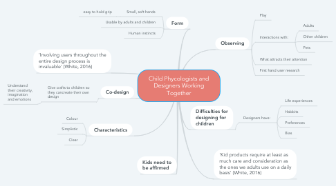 Mind Map: Child Phycologists and Designers Working Together