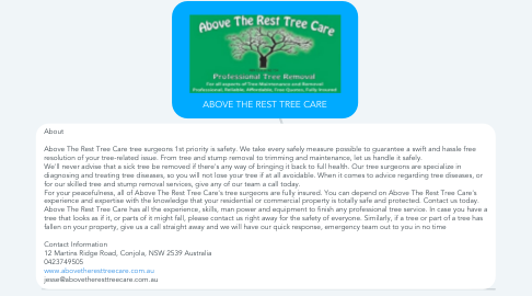 Mind Map: ABOVE THE REST TREE CARE