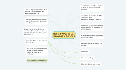 Mind Map: NECESIDADES DE LOS USUARIOS Y CLIENTES