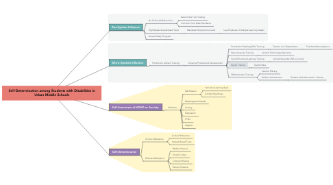 Mind Map: Systems Perspective of Adolescent Illiteracy in Urban Middle Schools