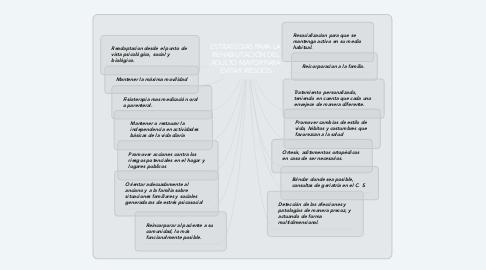 Mind Map: ESTRATEGIAS PARA LA REHABILITACIÓN DEL ADULTO MAYOR PARA EVITAR RIESGOS