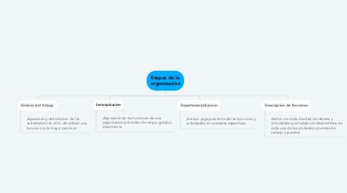 Mind Map: Etapas de la organización
