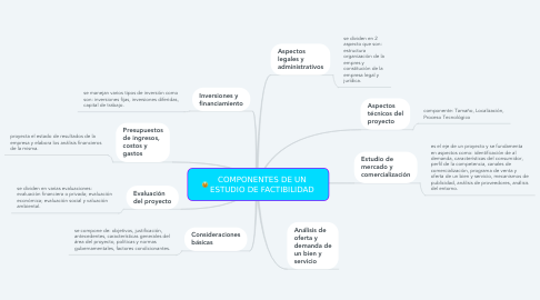 Mind Map: COMPONENTES DE UN ESTUDIO DE FACTIBILIDAD