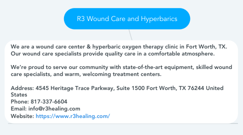 Mind Map: R3 Wound Care and Hyperbarics