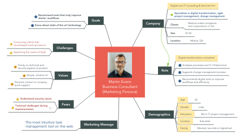 Mind Map: Martin Evans Business Consultant (Marketing Persona)