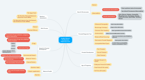 Mind Map: Healthy Physical Development Beginning of Life