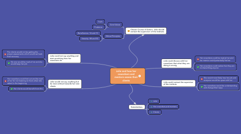 Mind Map: Julie and how her coworkers and mentors assess their clients