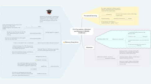 Mind Map: Ch.9 Perception, Attnetion and Memory in Middle Childhood