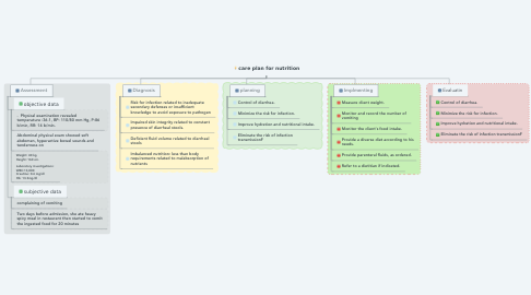 Mind Map: care plan for nutrition