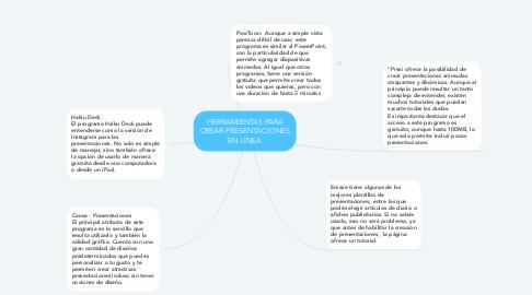 Mind Map: HERRAMIENTAS PARA CREAR PRESENTACIONES EN LINEA