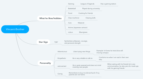 Mind Map: Vincent-Brother
