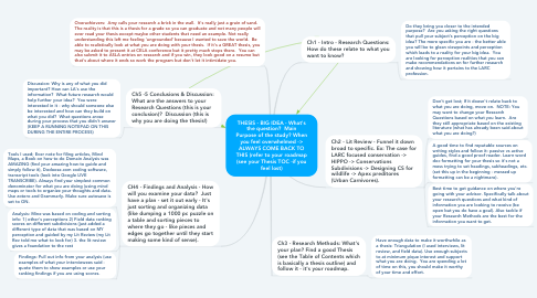 Mind Map: THESIS - BIG IDEA - What's the question?  Main Purpose of the study? When you feel overwhelmed -> ALWAYS COME BACK TO THIS (refer to your roadmap (see your Thesis TOC -if you feel lost)