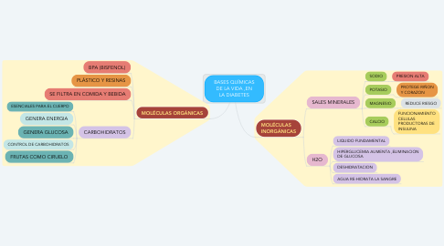 Mind Map: BASES QUÍMICAS DE LA VIDA ,EN LA DIABETES