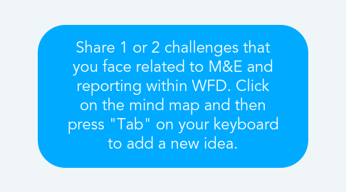 "Mind Map: Share 1 or 2 challenges that you face related to M&E and reporting within WFD. Click on the mind map and then press ""Tab"" on your keyboard to add a new idea."