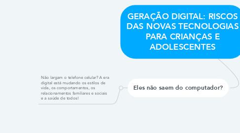 Mind Map: GERAÇÃO DIGITAL: RISCOS DAS NOVAS TECNOLOGIAS PARA CRIANÇAS E ADOLESCENTES