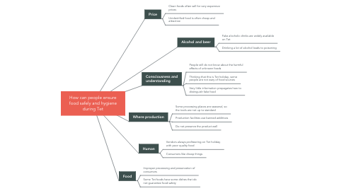 Mind Map: How can people ensure food safely and hygiene during Tet