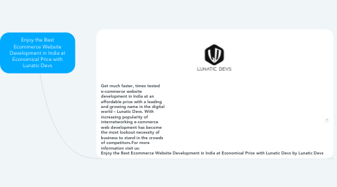 Mind Map: Enjoy the Best Ecommerce Website Development in India at Economical Price with Lunatic Devs