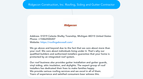 Mind Map: Ridgecon Construction, Inc. Roofing, Siding and Gutter Contractor