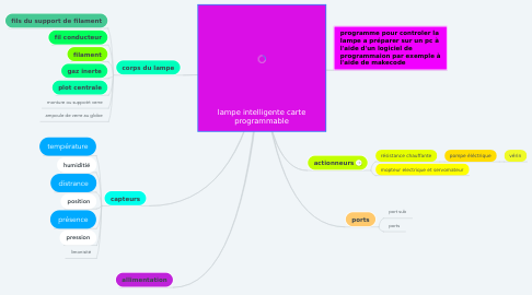 Mind Map: lampe intelligente carte programmable