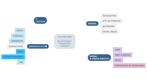 Mind Map: YUN PARTNERS   RECRUTEMENT  FORMATION  CONSEILS
