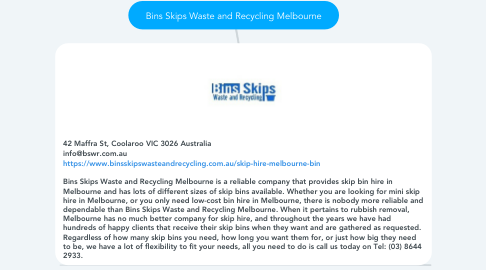 Mind Map: Bins Skips Waste and Recycling Melbourne