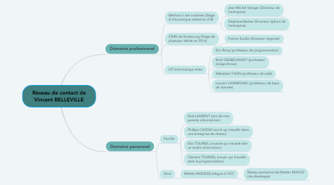 Mind Map: Réseau de contact de Vincent BELLEVILLE