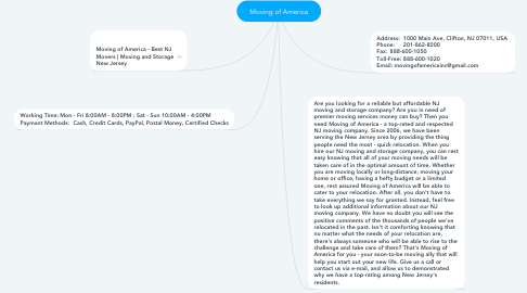 Mind Map: Moving of America