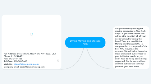 Mind Map: Divine Moving and Storage NYC